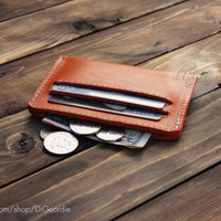 Leather wallet mens wallet orange wallet mens leather wallet credit card wallet credit card holder minimalist wallet slim wallet thin wallet