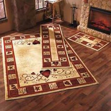 3-Pc Hearts & Berries Rug Set Accent Rug Runner & Area Rug Country Home Decor