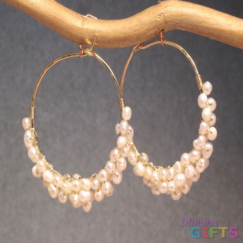 """Ivory freshwater pearls wrapped around hoops, 1-1/4"""" Earring Gold Or Silver"""
