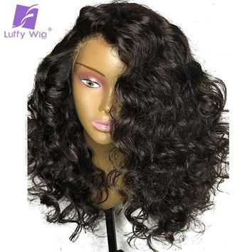 Luffy 13x6 Brazilian Human Hair Bouncy Curly Lace Front Wigs With Baby Hair Pre Plucked 150% Density Non-Remy Natural Color