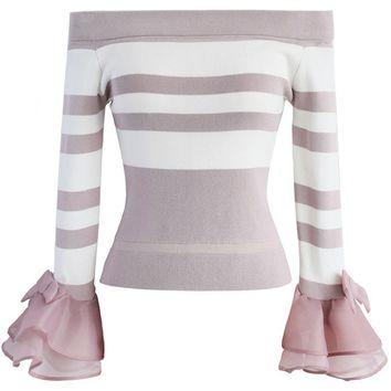 Cheerily Off-shoulder Top with Ruffle sleeves in Pink Stripes