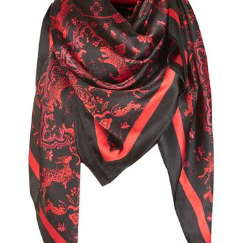Oversized Silky Tiger Print Scarf