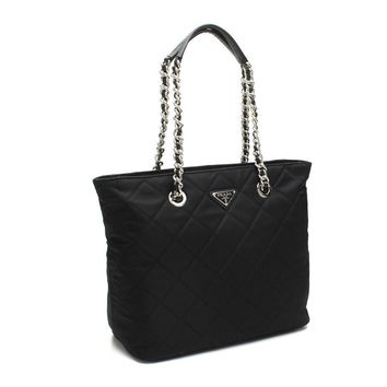 Prada Quilted Tessuto Chain 1BG017 Black Tote Bag