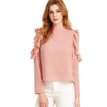 Women Full Sleeve Shirts Blouses Cold Shoulder Tops Pink Open Shoulder V Cut Out Back Ruffle Top Blouse