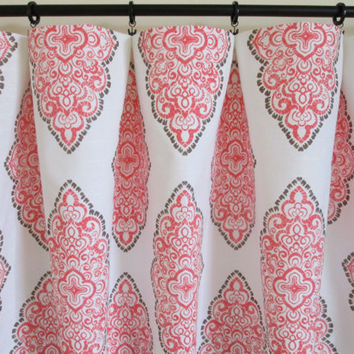 Pair of rod curtains drapery panels window treatment designer 25'' x 84'' Premier Prints Monroe Bittersweet brown coral 96'' 108'' 120''