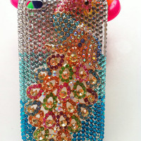 Apple iPod Touch 4 4G Gen 4th Generation Phone Case Charms handmade Bling Rhinestones Luxurly Peacock Colorized Background