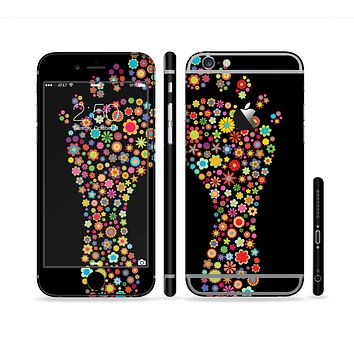 The Vector Floral Feet Icon Collage Sectioned Skin Series for the Apple iPhone 6 Plus
