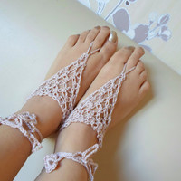 Beige Barefoot Sandal, Foot jewelry, Powder pink beige, Yoga, Anklet , Bellydance, Steampunk, Beach Pool, Wedding, Sexy.