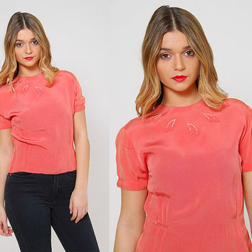 Vintage 50s CORAL Blouse Short Sleeve PIN UP Style Top Rockabilly Blouse Floral Appliqué Crop Top
