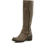Brown western stud knee high boots - knee high / calf boots - shoes / boots - women