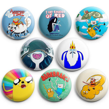 Adventure Time Pinback Buttons Badge #3 (Set of 8) 1.25 inches Finn & Jake,New