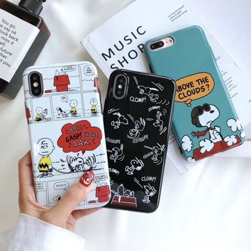 Newest Glossy IMD Cartoon Lovely Snoopy Dog Soft phone Case Protective Cover