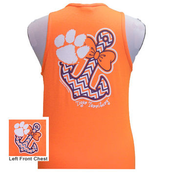 New South Carolina Clemson Tigers Anchor Bow Girlie Bright Tank Top