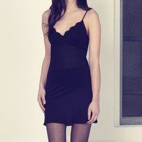 Black Lace-Neck Slip Dress