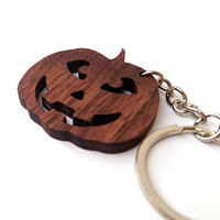 Wooden Carved Pumpkin Keychain, Walnut Wood, Halloween Keychain, Holiday Keychain, Friendly Green materials