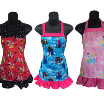 Kids Apron Set of 5 // Frozen, Tinkerbell, Minnie, Hello Kitty, Disney Princesses // Great for Baking Party // Size 4-6-8-Young Adult