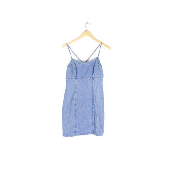 90s denim dress / vintage 1990s / cross back / spaghetti strap mini / nineties grunge dresses / bodycon blue jean sundress / small / size 6