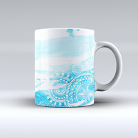 The Vivid Blue Abstract Washed ink-Fuzed Ceramic Coffee Mug