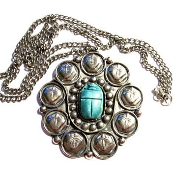 1960's Egyptian Revival Turquoise Scarab Pendant Necklace, Silver Tone Statement Pendant on Chain, Large Huge Pendant, VisionsOfOlde