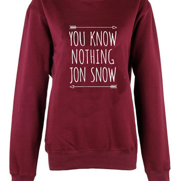 You know nothing jon snow shirt womens ladies game of thrones Harry Potter Hogwarts print  sweatshirt