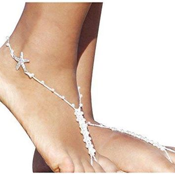 2pcs Beach Wedding Barefoot Sandals Ivory Pearl Crystal Starfish Anklet Foot Jewelry