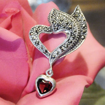 Garnet Marcasite Heart Pendant Sterling Silver Pendant Drop Dangle Heart Shaped Cherry Red Genuine Garnet Gem Gemstone January Birthstone