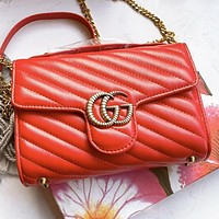 GUCCI Fashion new letter leather chain shopping leisure shoulder bag crossbody bag Red