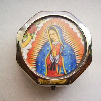 Virgin of Guadalupe pill box retro vintage Mexico saint religious kitsch pill case