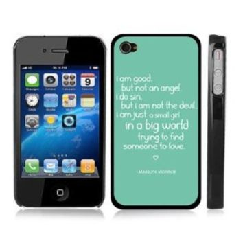 Marilyn Monroe Quote Love Turquoise Snap-On iPhone Cover Black Carrying Hard Plastic Case for iPhone 4/4S