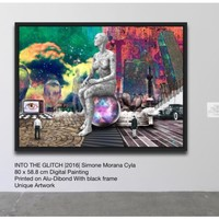 INTO THE GLITCH | Digital Painting printed on Alu-Dibond with Black wood frame | Unique Artwork | 2016 | Simone Morana Cyla | 80 x 58.8 cm | Art Gallery Quality | Published | (2016) Manipulated photograph (giclée) by Simone Morana Cyla