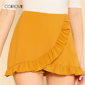 Womens Ruffle Trim Overlap Mini Summer Ginger Zipper Fly Elegant Skirt Shorts