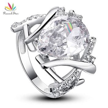 Peacock Star 4 Carat Pear Cut Solid 925 Sterling Silver Wedding Ring Jewelry CFR8018