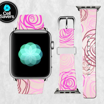 Pink Roses Outlines Flower Floral Purple Lines Cute Apple Watch Band Leather Strap iWatch for 42mm and 38mm Size Metal Clasp Watch Print