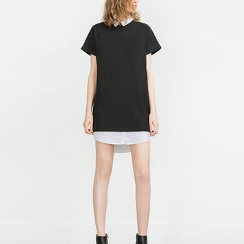 DRESS WITH CONTRAST NECK AND HEM