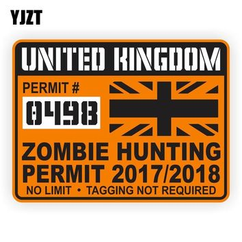 YJZT 10.1CM*7.6CM Lnterest Car Sticker UNITED KINGDOM ZOMBIE HUNTING PERMIT Reflective The Tail Of The Car Decal C1-7480