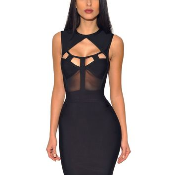 Winsley Sleeveless Black Mesh Cut Out Bustier Bandage Dress