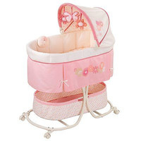 Pink Infant Baby Girls Crib Musical Rocking Bed Portable Motion Cradle
