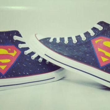 DCKL9 superman handpainted shoes converse Custom one of a kind canvas