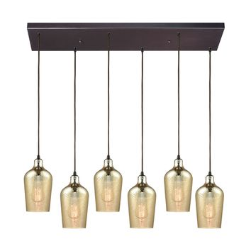 Hammered Glass 6 Light Rectangle Fixture In Oil Rubbed Bronze With Hammered Amber Plated Glass