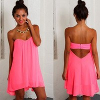 NWT NEON PINK CHIFFON high low DRESS strapless LOOSE FLOWY GIRLY BOHO party SEXY