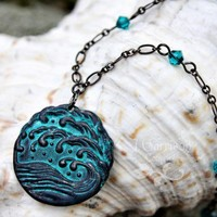 Stormy seas Necklace - Gunmetal black teal patina waves pendant