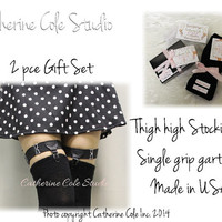GIFT SET 2 pce. black thigh with single grip garter sold as a set garter with black thigh high knee stockings  Catherine Cole Studio GS1