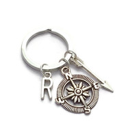 Compass Keychain, Arrow Keyring, Custom Keychain, Unisex Keyring, Monogram Initial Key Ring, Long Distance Friend, Personalised Gift