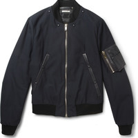 Paul Smith Leather-Trimmed Wool-Blend Bomber Jacket | MR PORTER