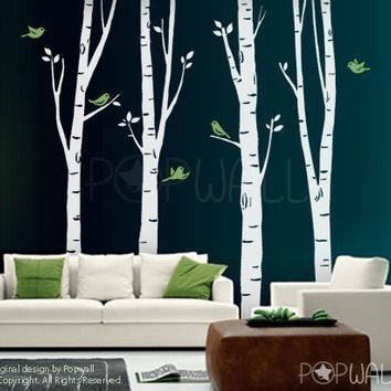 100inch Tall Birch Trees with flying birds Art Wall by NouWall & Corner Tree Wall DecalBaby nursery wall from NouWall on Etsy