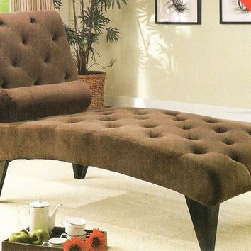 A.M.B. Furniture & Design :: Living room furniture :: Sofas and Sets :: Chaise loungers :: Chocolate velour fabric upholstered tufted chaise lounger with black finish wood accents