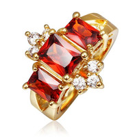 Gold Plated Ruby Emerald Crown Jewel Ring