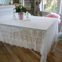 EMBROIDERED LACE TABLECLOTH natural ecru color available in custom colors