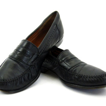 Navy Blue Salvatore Ferragamo Loafers - Penny Leather Dress Shoes Slip Ons Prep Ivy League Menswear Men's Size 7.5 EE Wide