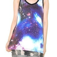 Cosmos Galaxy Universe Space Star Cluster Singlet Tank Top Tee Size S